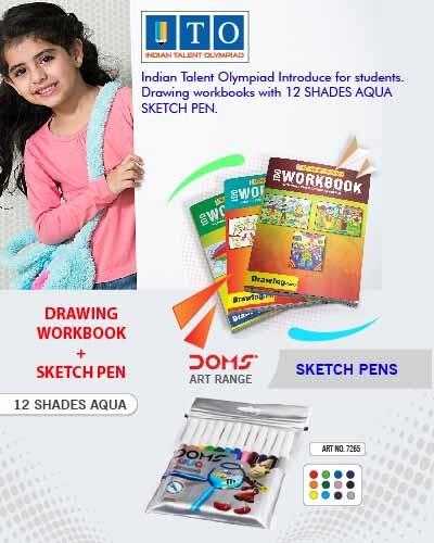 Class 2 Drawing Olympiad Book & Sketch Pen Aqua 12